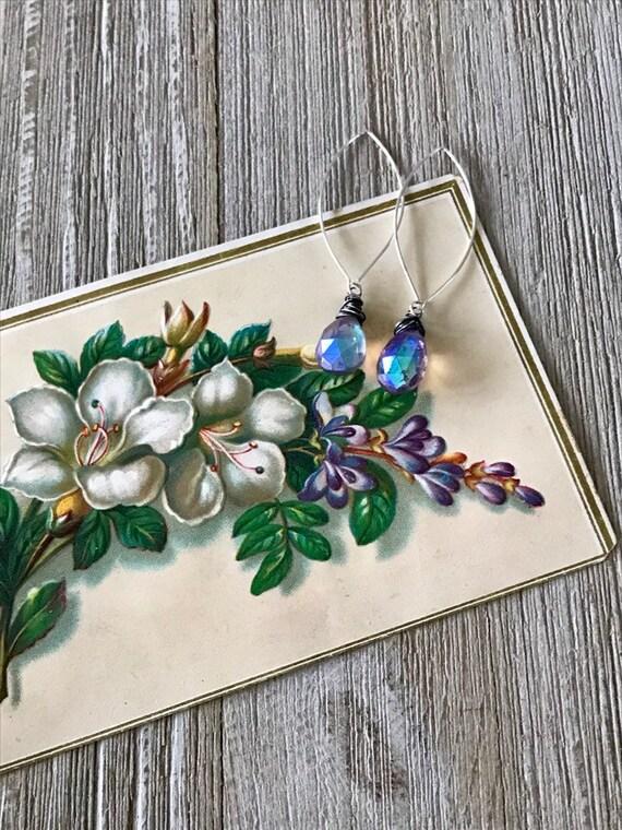 Amethyst drop earrings. Handmade by ladeDAH! Jewelry.