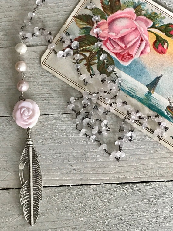 Cecile. Rose quartz chain leads to pink pearls and a beautiful carved Peruvian opal rose atop a fine silver feather. OOAK by ladeDAH!