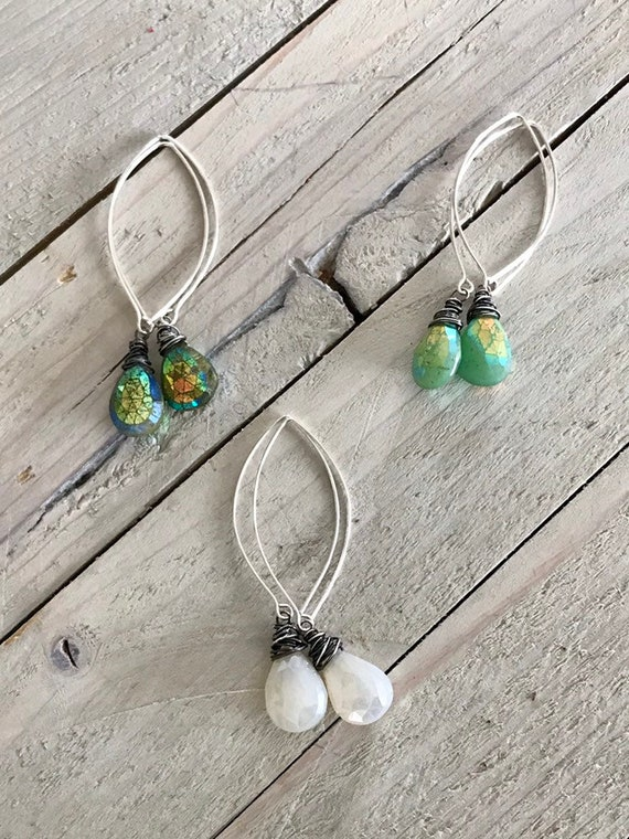 Gemma. Vasonite, chrysoprase, amd pearl chalcedony earrings with a tornado-style wrap. Handmade by ladeDAH! Jewelry.