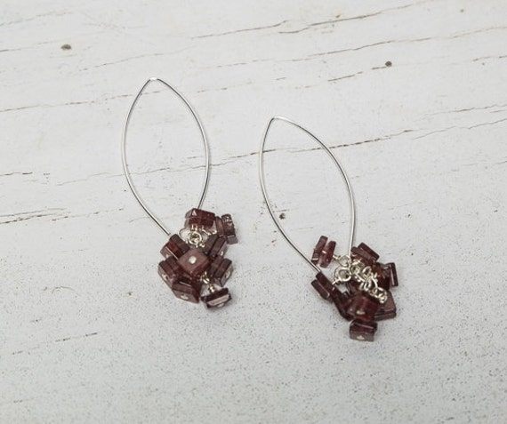 Pink Topaz Confetti dangle earrings handmade by ladeDAH! jewelry