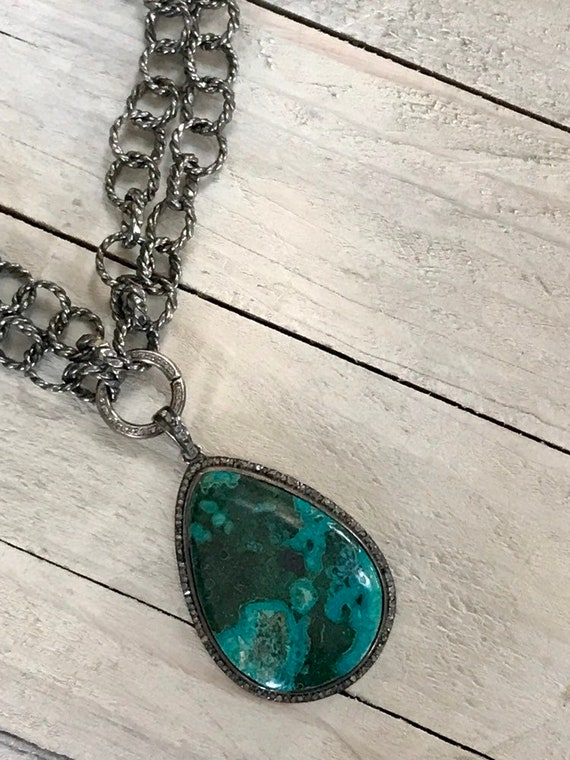 Turquoise Coast. This turquoise is truly splendid! Diamond pavé bezel, bale, and clasp suspended from a rustic rope chain. OOAK by ladeDAH!