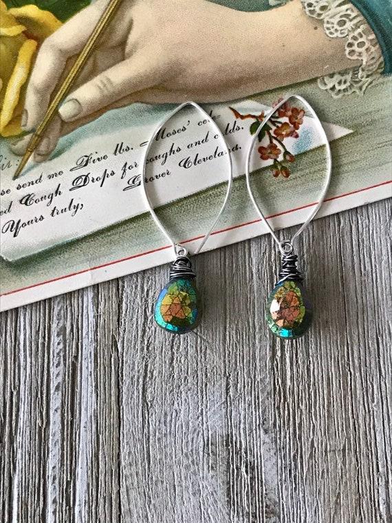 Vasonite drop earrings. Gorgeous green earrings worh tornado wrap and long earwire. Handmade by ladeDAH! Jewelry.