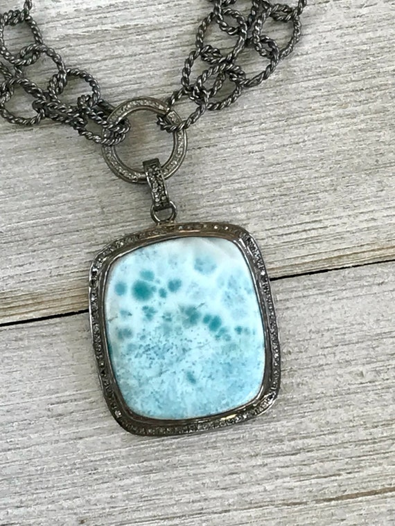 Azure. Larimar set in diamond pavé with diamond pavé clasp and sterling rope chain. By ladeDAH! Jewelry.