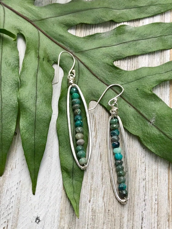 Shakti. Fine silver frames with timy chrysoprase beads. Handmade by ladeDAH! Jewelry.