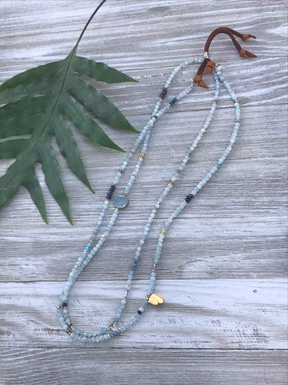 "Tulum. 42"" of aquamarine with deerskin leather adjustable bracelet or necklace. Handmade amd OOAK by ladeDAH!"