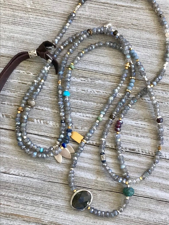 Sayulita. Shimmery labradorite extra long necklace or bracelet with labradorite focal bead amd assorted gems. Handmade and OOAK by ladeDAH!