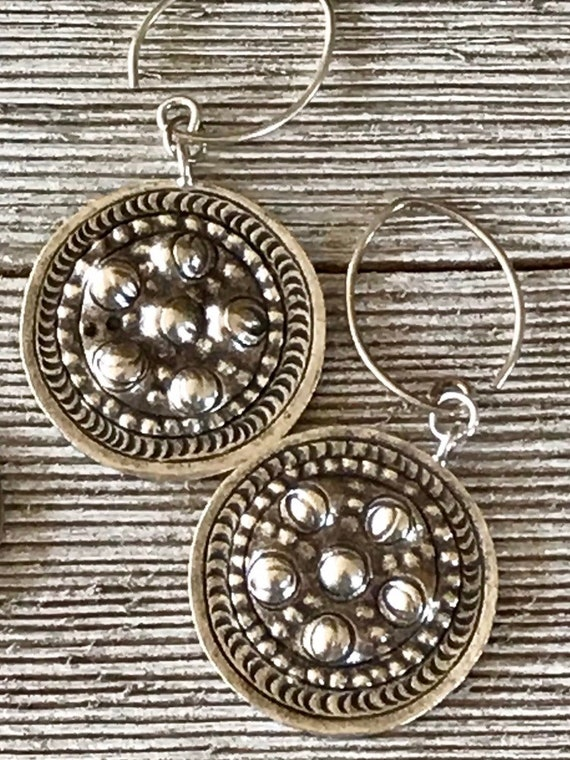 Pattaya. Hand formed, hammered, amd stamped coin earrings of fine silver by ladeDAH! Jewelry.