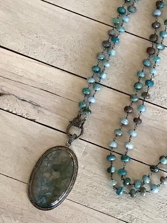 Montana. Moss Agate in a diamond pavé setting with diamond pavé clasp on moss agate beaded chain. From ladeDAH!