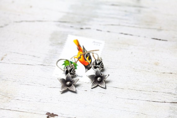 Loosestrife OOAK hand made fine silver flower earrings by ladeDAH! jewelry
