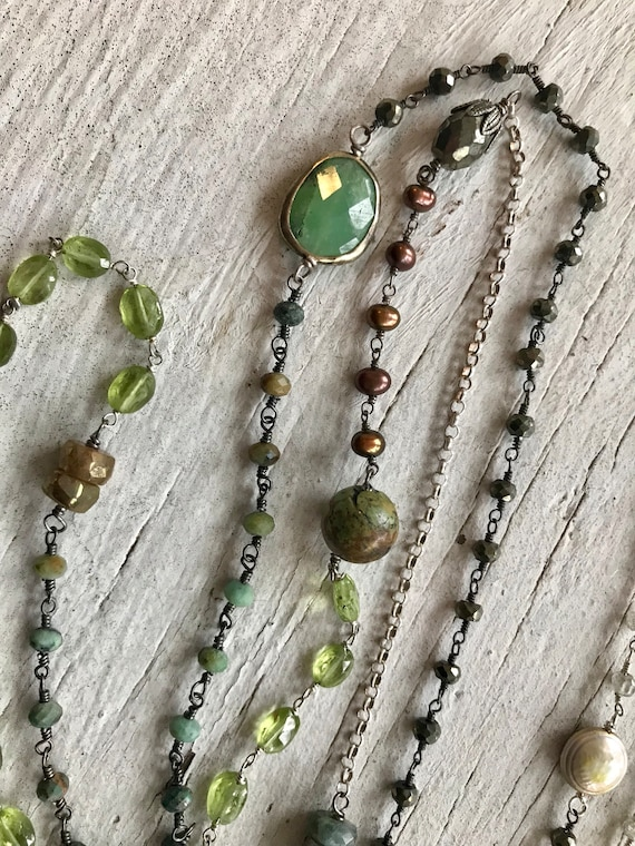 Simplicity. Hope. Mixed gemstone chain. Perfect layering piece. Handmade and OOAK by ladeDAH!