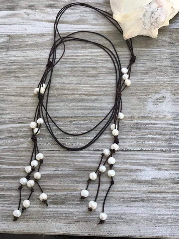 Sonora. 3 strands of knotted leather and pearls. Handmade by ladeDAH! Jewelry.