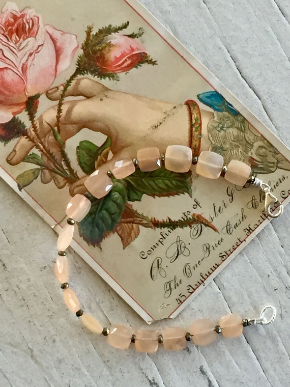 Peach Moonstone Mondrian Bracelet.  Handmade and OOAK by ladeDAH! Jewelry