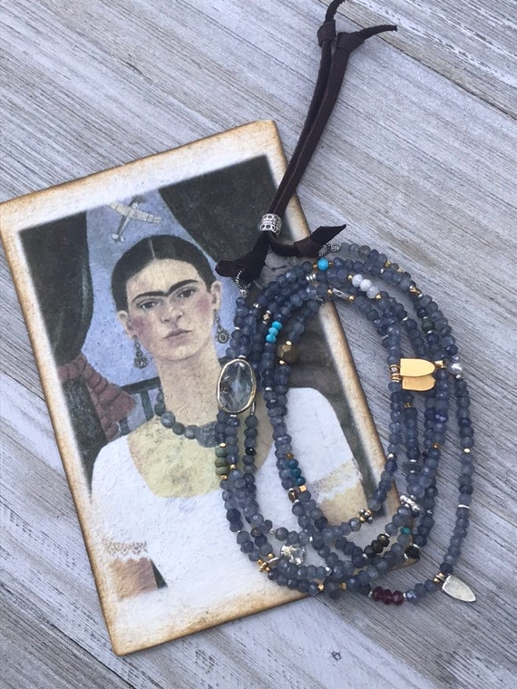 Baja. Super long strand of iolite with bezel set crystal and assorted gems and fine silver and vermeil tidbits.  OOAK by ladeDAH! Jewelry.