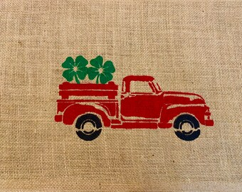 Vintage Red Truck Christmas Placemats.Vintage Red Truck Placemat Christmas Truck Burlap Placemat