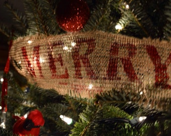 Burlap Christmas Garland / 30 Feet / Rustic Tree Decoration