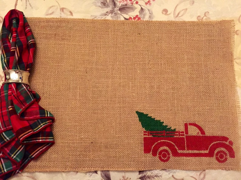 Vintage Red Truck Christmas Placemats.Vintage Red Truck Placemat Christmas Truck Burlap Placemat Vintage Truck Christmas Placemat Burlap Placemat Christmas Tree Placemat