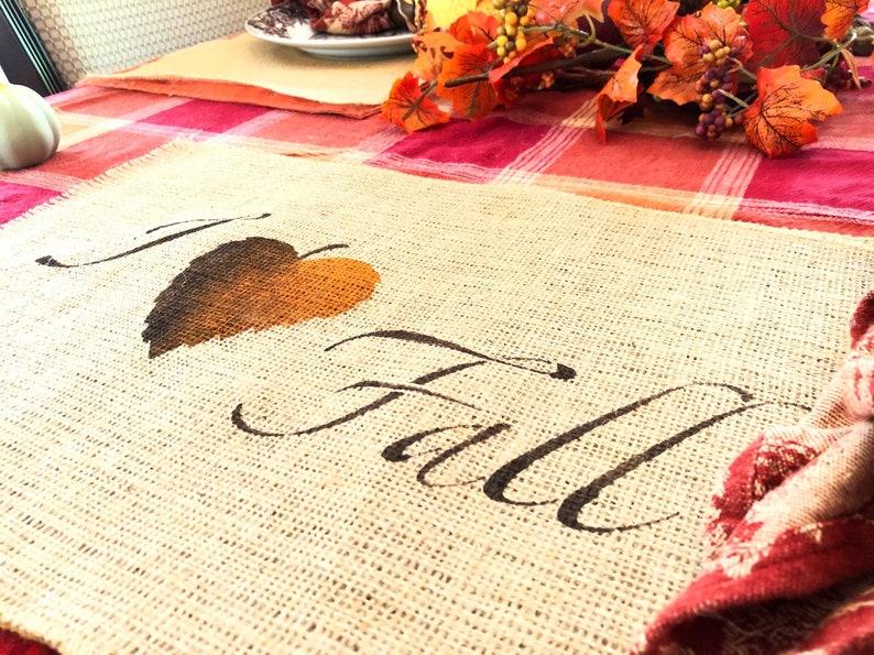 I Love Fall Placemat  Fall Burlap Placemat  Fall Placemat  Burlap Placemat  Thanksgiving Placemat