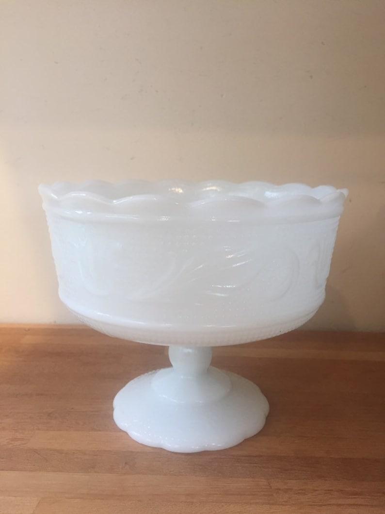 E.O Brody White Flower Milk Glass Compote