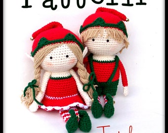 Pattern Boy and Girl Elf Doll crochet Holiday