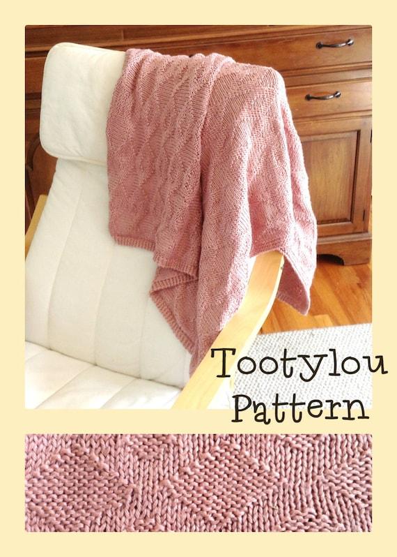 Knitted Lap Blanket Pattern Throw Diamond Design Baby Etsy