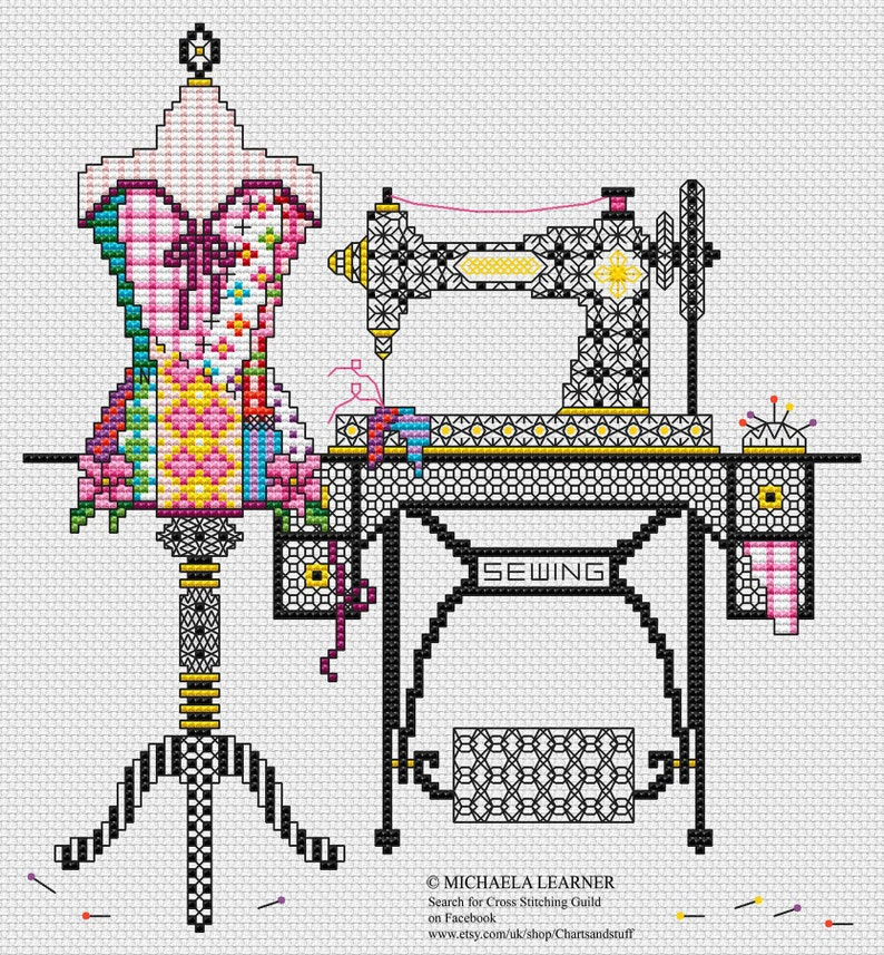 Patchwork Sewing Room Cross Stitch Pattern Instant PDF Download