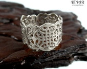 14k solid Gold wedding ring, Celtic knot lace ring, celtic handmade design, Statement ring by DINAR, gold lace ring, celtic weddign band