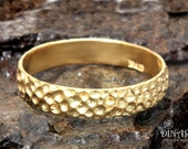 14k Honeycomb Gold ring, Textured wedding band, Hammered 14k Yellow Gold , rose gold ,men's single band ,Handmade women's wedding ring