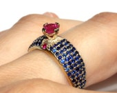 Natural ruby and sapphires cocktail ring, rubies Right Hand anniversary statement Ring, Vintage style gemstones 14k gold birthstone ring