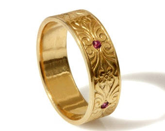 14k Gold Vintage 7mm Wedding Band Engraved Floral Pattern Etsy
