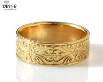 Engraved Mens Wedding Band 14k Gold Vintage Design 7mm Wide Etsy