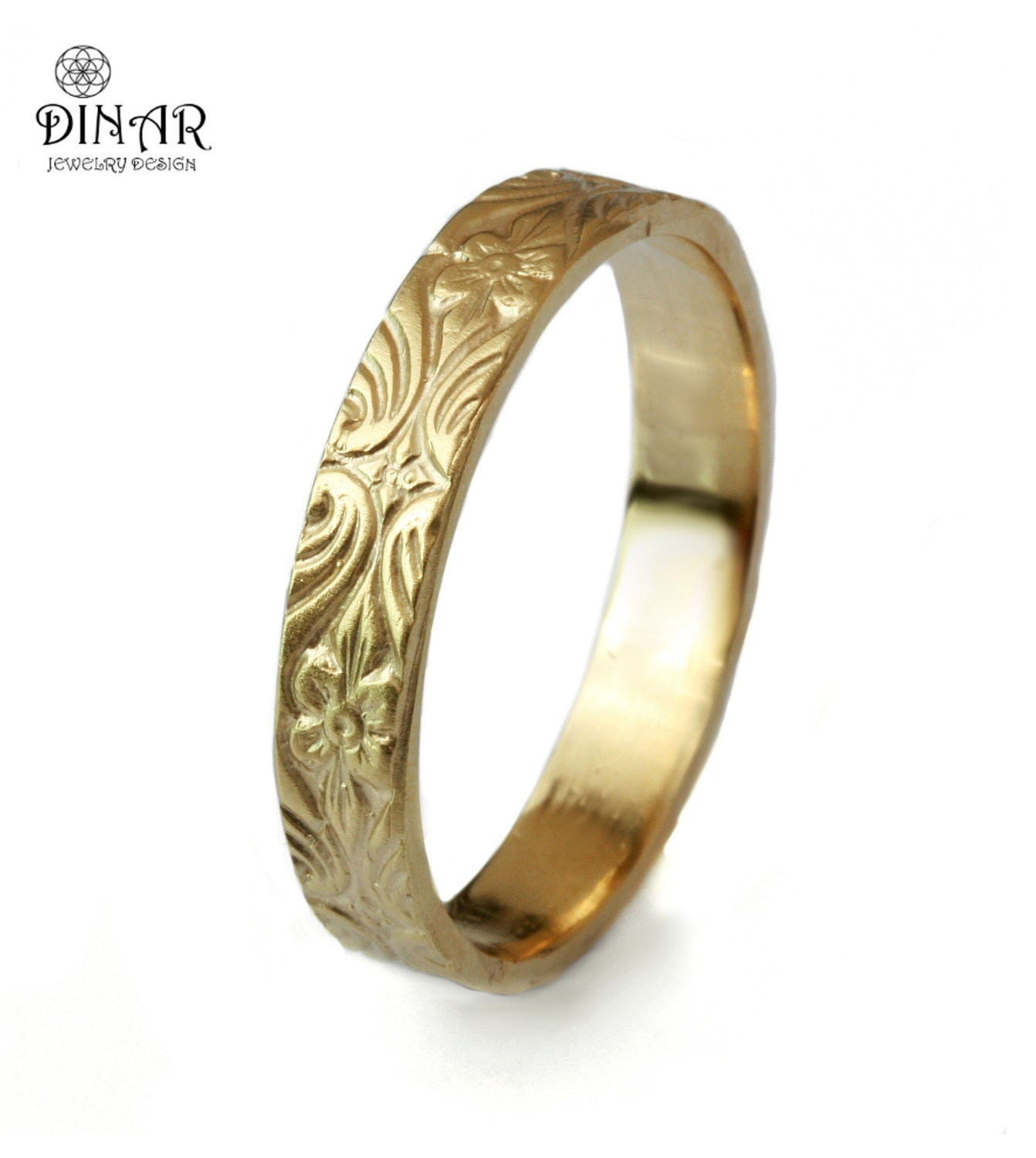 Thin Vintage Inspired Leafs And Flowers Gold Ring For Women Etsy