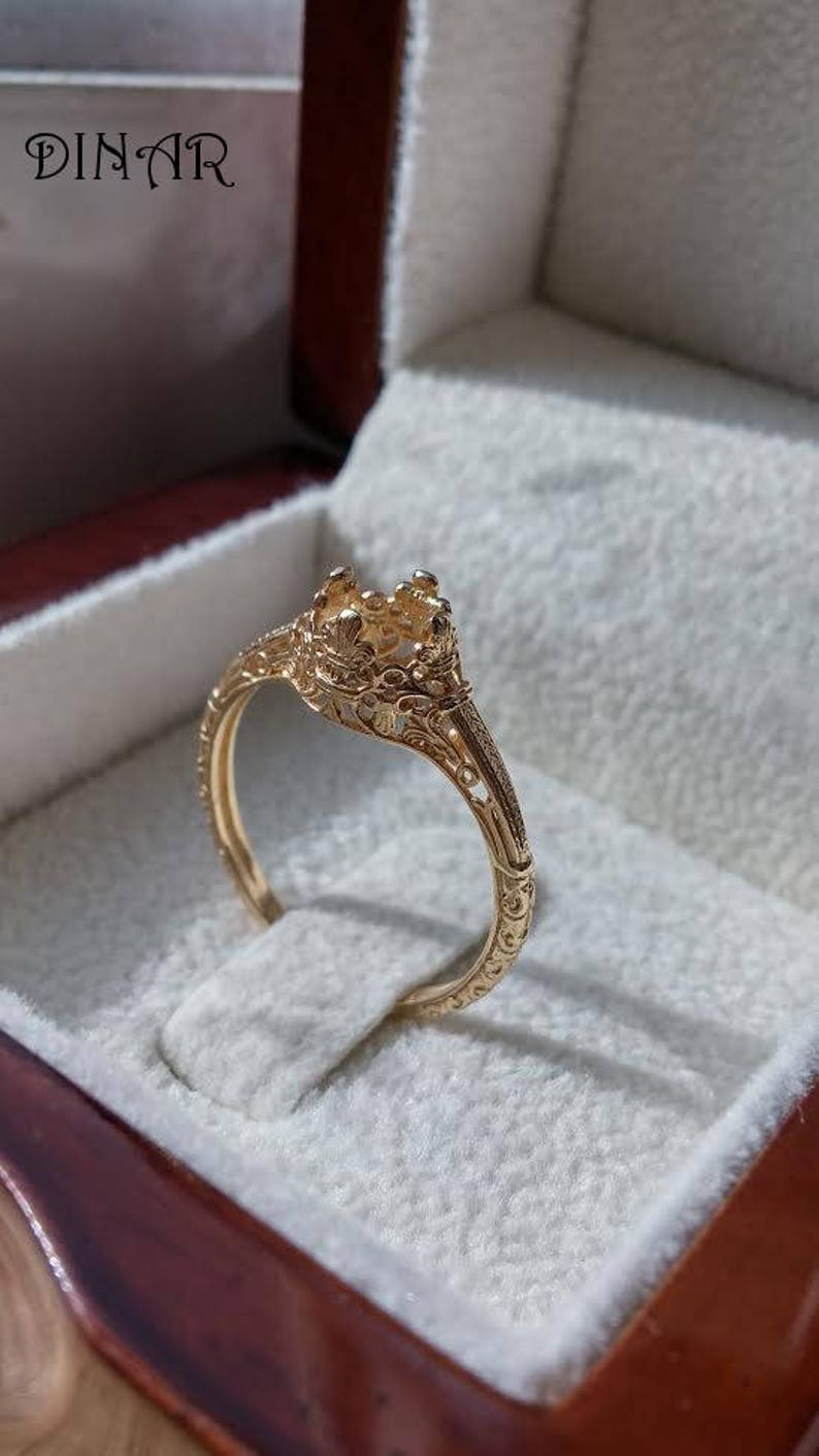 promise ring antique engagement ring Ring setting Vintage gold Engagement ring 18k gold ring setting 14k gold ring without gemstone