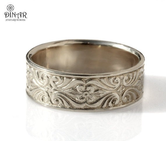 Silver Mens Wedding Band Engraved Floral Art Deco Pattern Etsy