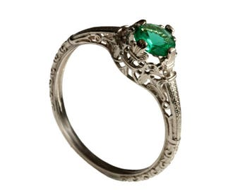 Solitaire Emerald Engagement ring , vintage filigree engagement emerald ring, promise ring , Natural half carat Emerald May birthstone ring