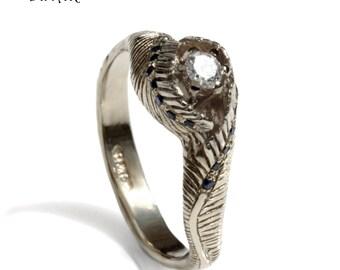 Leaf Diamond Engagement ring, handmade 18k solid white gold diamond engagement ring, feathers engagement ring diamond and  blue spinel ring