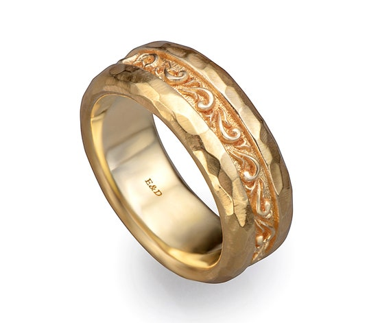 9f8a0d1fbc7 14k solid gold thick wide rustic hammered scrolls gold ring