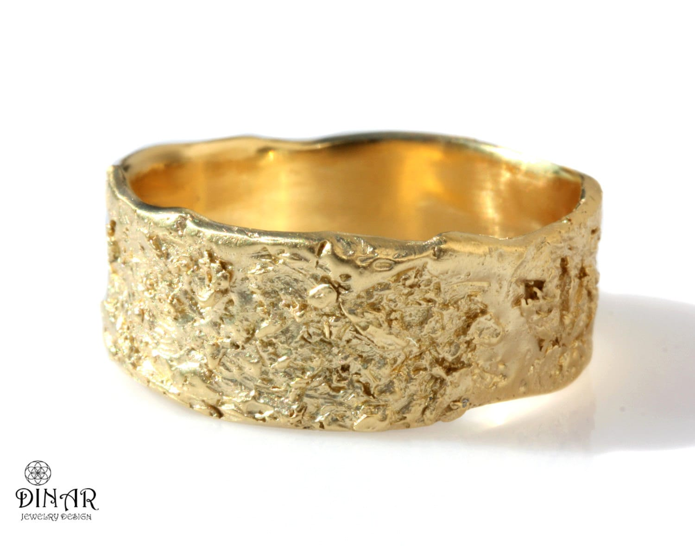 gold rustic mens wedding band organic textured tree bark hand   etsy