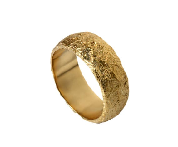 7c017625c2a Hammered gold wide wedding band 14k rustic band 18k textured