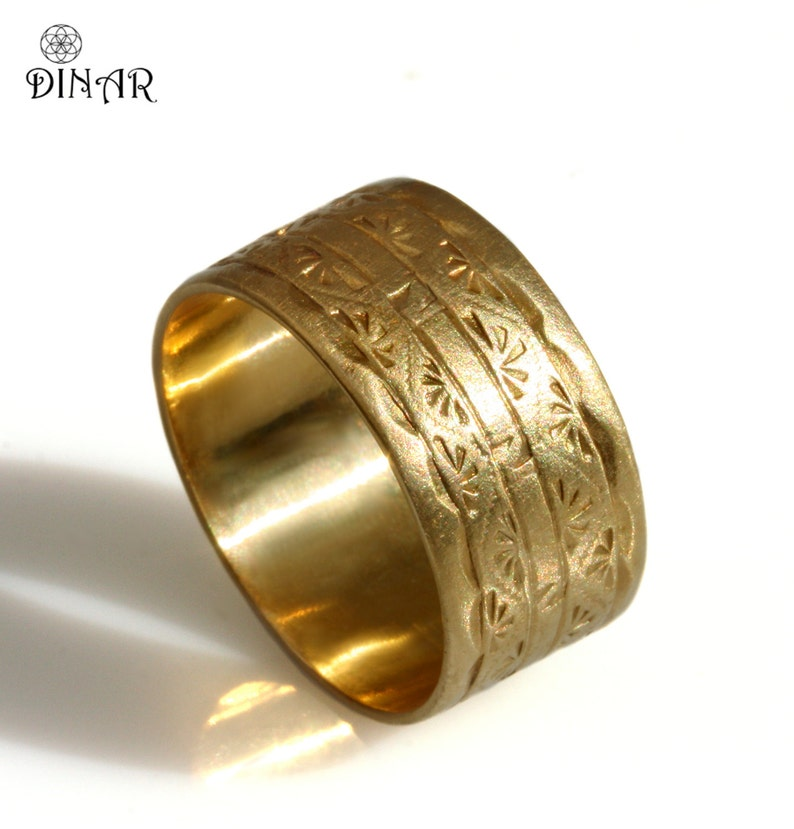 6e4bb9f9148a2 14k solid yellow gold band 10mm wide Wedding Band Art Deco image 0 ...