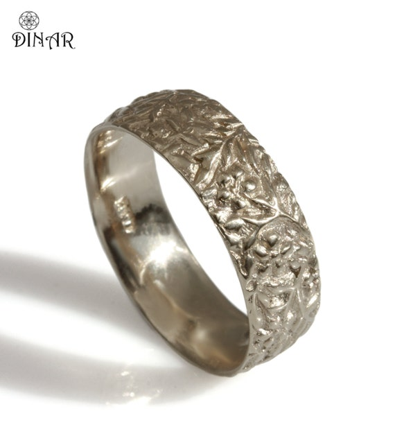 thick 14k white gold wedding band wedding ring women gold | Etsy