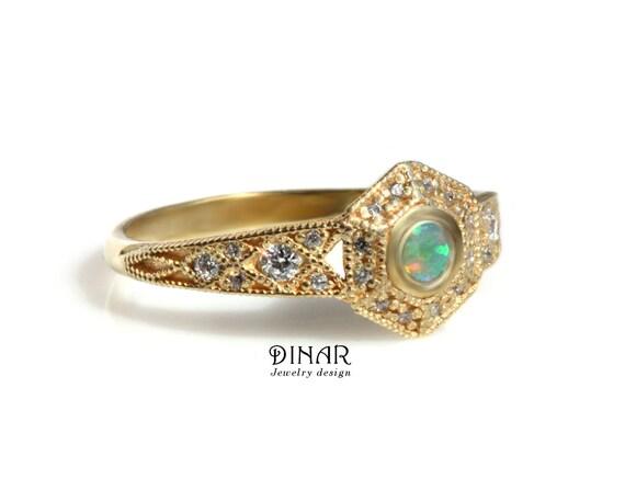 Sechseck weiß Feueropal und Diamanten gold Ring, einzigartige alternative Opal Engagement geometrische Milgrain natürliche Diamanten Frauen Edelsteine