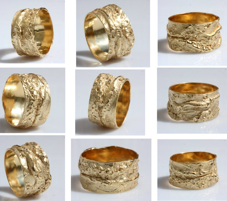 abcf0bb413a Rustic organic style chunky gold ring heavey large men band
