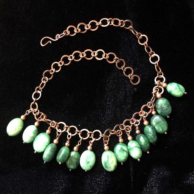 Brazilian emerald bead fringe necklace on copper link chain.