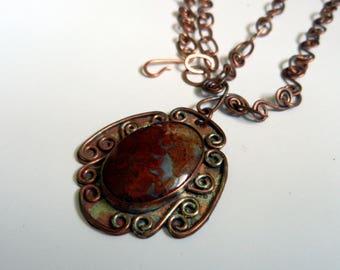 Jasper and copper pendant necklace.