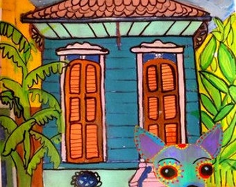 New Orleans shotgun house with chihauhau dog art signed painting print giclee New Orleans