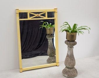 Neoclassical yellow overmantel mirror