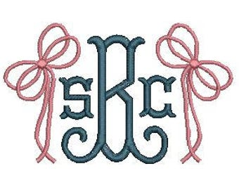 Bow Ribbon Monogram Add On Fill Stitch Embroidery Design File Embroidery Machine Instant Download