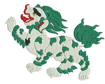 Foo Dog Design File for Embroidery Machine Fill Stitch Monogram Instant Download