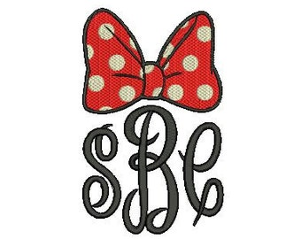 Girl Mouse Bow Frame for Monogram Fill Design File for Embroidery Machine Monogram Instant Download wear to park to see character