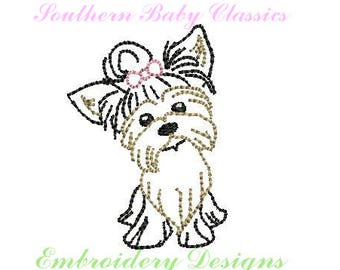 Yorkie Yorkshire Terrier  Quick Stitch Vintage Design File for Embroidery Machine Instant Download Girl Cute